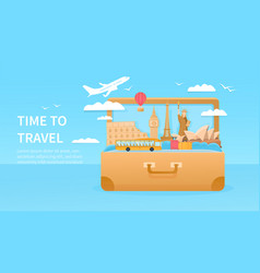 travelling concept with giant suitcase vector image