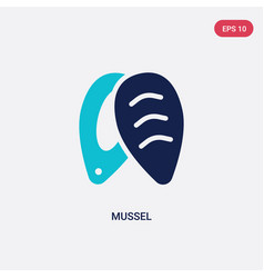 Two color mussel icon from food concept isolated vector