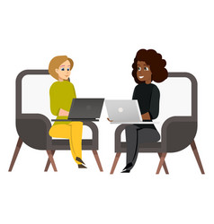 two woman sitting on armchair working on laptop vector image