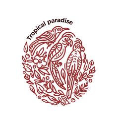 vintage emblem tropical birds in circle ornate vector image