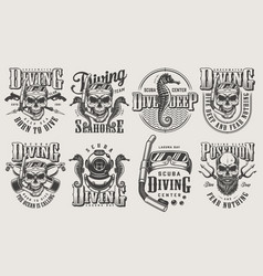 Vintage monochrome diving logos set vector