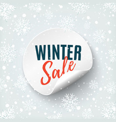 winter sale round banner price tag isolated on vector image