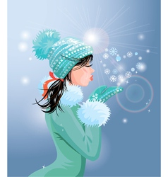 Beautiful brunette girl with warm blue winter hat vector image vector image