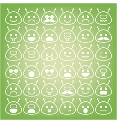 Emoticons space aliens different emotions icons vector image