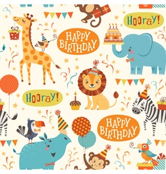 Happy birthday animals pattern vector