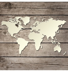paper world map on a wooden board vector image vector image