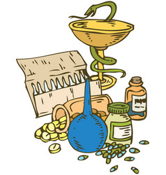 symbol of medicine bowl with a snake vector image