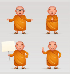 buddhist cute monk traditional asian buddhist vector image