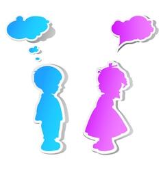 Children with speech bubbles vector image