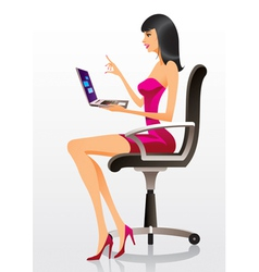 Fashion model presenting a new laptop vector image vector image