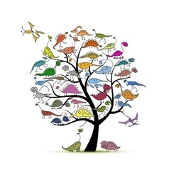 Funny dinosaurs art tree for your design vector image