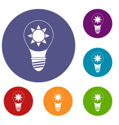 light bulb with sun inside icons set vector image vector image