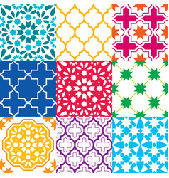 moroccan tiles design seamless geometric pattern vector image