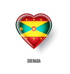 patriotic heart symbol with grenada flag vector image