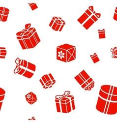 Seamless Gift pattern red gift boxes on vector image vector image