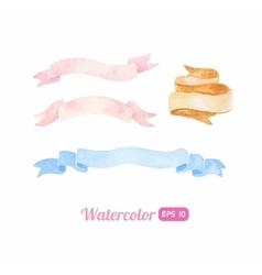 Watercolor ribbon set vector image