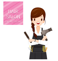 woman hairdresser with hair salon equipment vector image