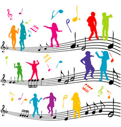 abstract music note with silhouettes of kids vector image