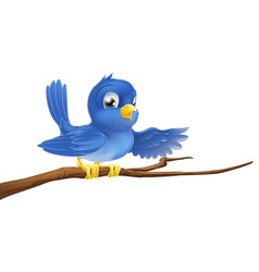 bluebird sitting on branch pointing vector image vector image