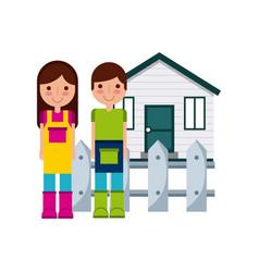 couple of gardeners icon vector image