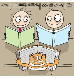 Man woman and cat reading book in library vector image vector image