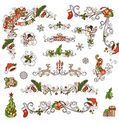 Set of Christmas ornate page decorations and vector image vector image