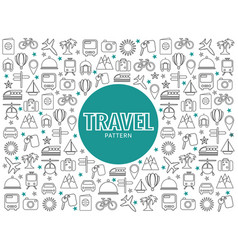 travel line icons pattern vector image vector image
