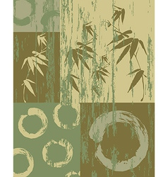 Zen circle and bamboo vintage green background vector image vector image