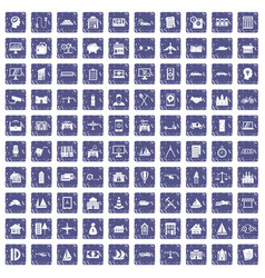 100 private property icons set grunge sapphire vector image vector image