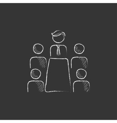 Business meeting in the office Drawn in chalk vector image