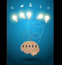 Creative brain with light bulb idea concept vector