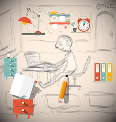 Graphic Designer or Architect - Engineer in Office vector image