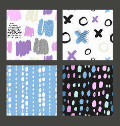 hand drawn textures made with ink isolated vector image