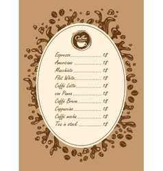 menu list for hot drinks vector image