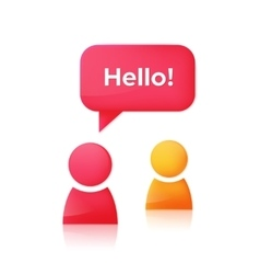 People icons and speech bubble with text Hello vector image vector image