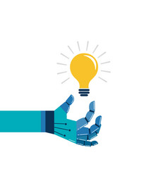 robotic hand with a light bulb vector image