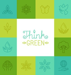 think green concept in linear style vector image vector image