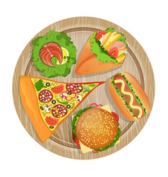 top view fast food set on wooden board vector image