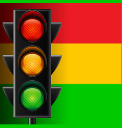 Traffic light on striped background vector image vector image