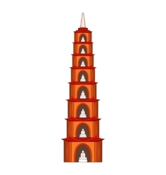 Tran quoc pagoda in hanoi icon cartoon style vector