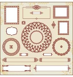 vintage floral pattern elements collection vector image
