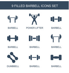 9 barbell icons vector