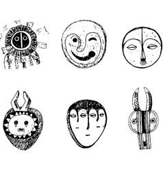 african mask set sketch doodle graphic art vector image