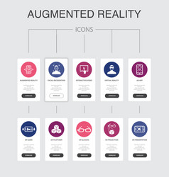 Augmented reality infographic 10 steps ui design vector