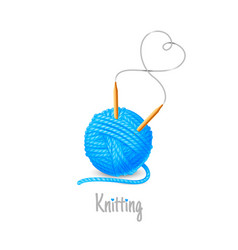 Ball yarn with needles knit icon logo vector