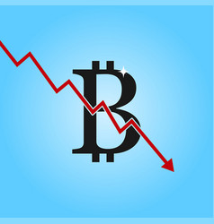 bitcoin drop graph bitcoin sign with arrow down vector image