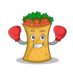 Boxing kebab wrap character cartoon vector