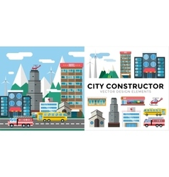 Buildings and city transport flat style vector