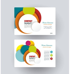 Business cards with bright circles design vector