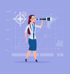 Business woman with binoculars successful future vector